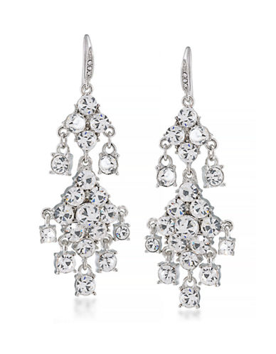 Carolee Crystal Drop Chandelier Earrings-SILVER-One Size