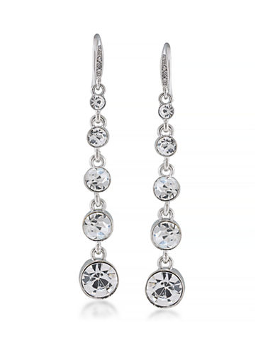 Carolee Graduated Linear Crystal Earrings-SILVER-One Size