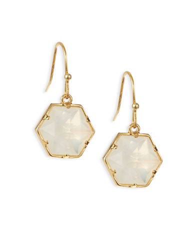 Trina Turk Hexagon Stone Drop Earrings-WHITE-One Size