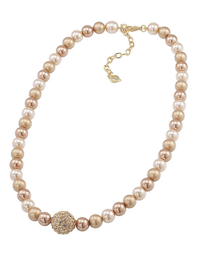 Carolee Gold Pearl Necklace With Gold Crystal Center-GOLD-One Size