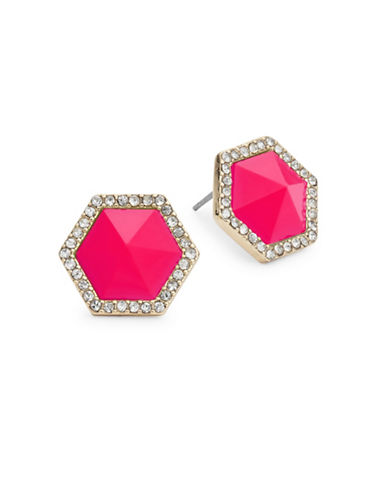 A.B.S. By Allen Schwartz Octagon Blue Stud Earrings-PINK-One Size