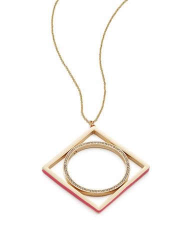 A.B.S. By Allen Schwartz Geo Pendant Necklace-PINK-One Size