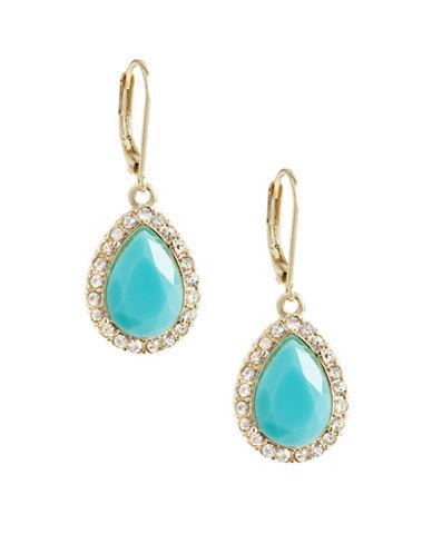 A.B.S. By Allen Schwartz Pave-Framed Stone Drop Earrings-BLUE-One Size