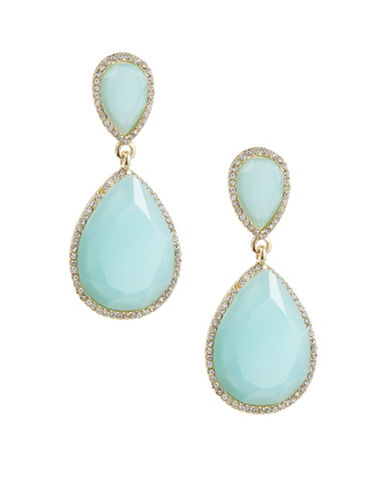 A.B.S. By Allen Schwartz Pave-Framed Double Teardrop Earrings-BLUE-One Size