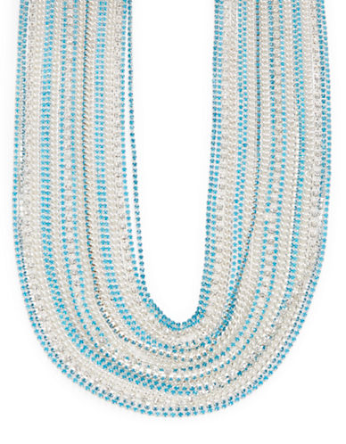 A.B.S. By Allen Schwartz Beaded Multi-Row Necklace-BLUE-One Size