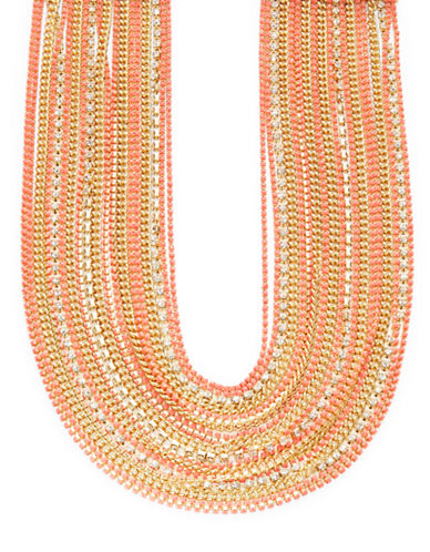 A.B.S. By Allen Schwartz Beaded Multi-Row Necklace-PINK-One Size