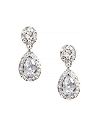 Carolee Double Drop Crystal Earring-SILVER-One Size