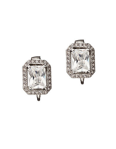 Carolee Crystal Button Clip Earrings-SILVER-One Size