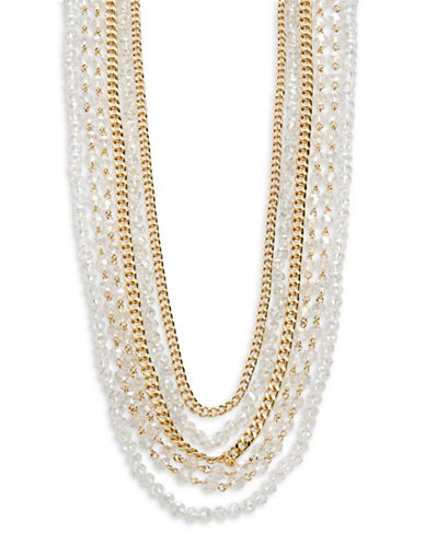 A.B.S. By Allen Schwartz Multi-Row Crystal and Chain Necklace-WHITE-One Size