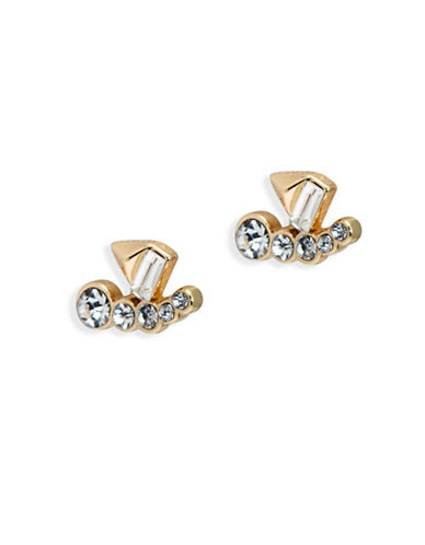 A.B.S. By Allen Schwartz Goldtone Sparkle Ear Jacket Earrings-WHITE-One Size