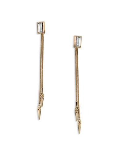 A.B.S. By Allen Schwartz Goldtone Glass Linear Point Earrings-GOLD-One Size