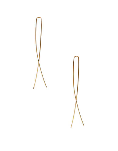 A.B.S. By Allen Schwartz Goldtone Thread Loop Earrings-YELLOW-One Size
