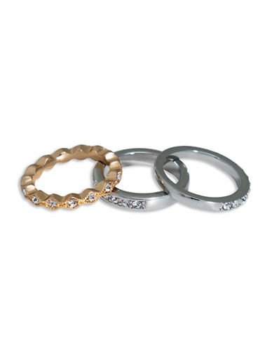 A.B.S. By Allen Schwartz Three-Set Stackable Two-Tone Facet Stone Rings-ASSORTED-7