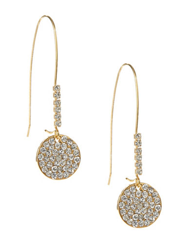 A.B.S. By Allen Schwartz Fish Hook Wire Pave Drop Earrings-GOLD-One Size