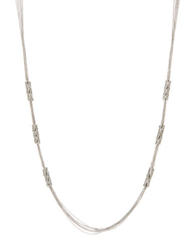 A.B.S. By Allen Schwartz Rhinestone Bar Necklace-SILVER-One Size