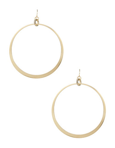 A.B.S. By Allen Schwartz Large Hoop Drop Earrings-GOLD-One Size