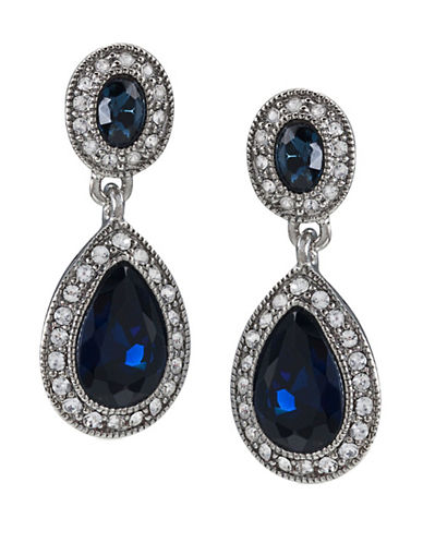 Carolee Double Drop Crystal Earring-BLUE-One Size