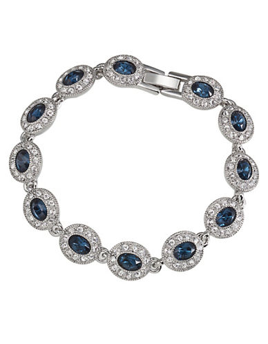 Carolee Simply Blue Oval Stone Pave Bracelet-BLUE-One Size