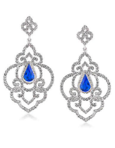 Carolee The Cloisters Blue Crystal Openwork Earrings-BLUE-One Size