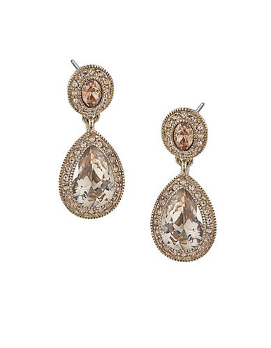 Carolee Double Drop Crystal Earring-GOLD-One Size