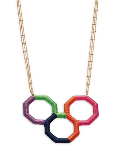 Trina Turk Wrapped Geo-Shapes Pendant Necklace-MULTI-One Size