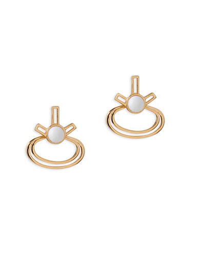 Trina Turk Oval Shape Front-Back Earrings-GOLD-One Size