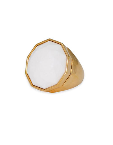 Trina Turk 14K Goldplated White Cocktail Ring-GOLD-7