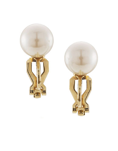Carolee 10mm White Pearl Clip Studs-WHITE-One Size