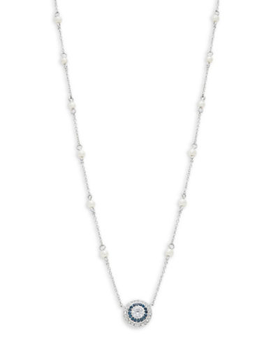 Lauren Ralph Lauren Faceted Pendant and Faux Pearl Necklace-WHITE-One Size
