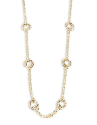 Lauren Ralph Lauren Circle Charm Station Necklace-YELLOW-One Size