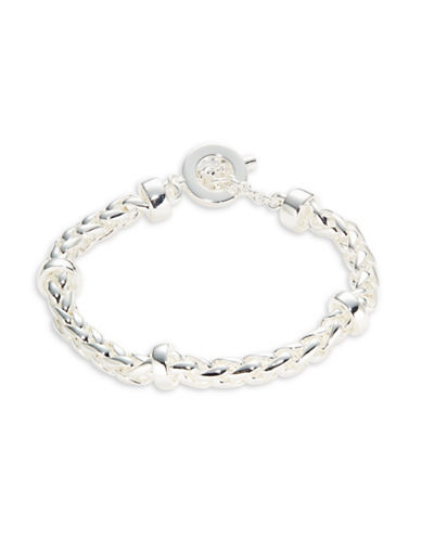 Lauren Ralph Lauren Braided Chain Toggle Bracelet-SILVER-One Size