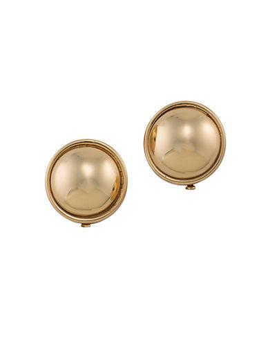 Lauren Ralph Lauren Back to Basics Button Clip-On Earrings-GOLD-One Size