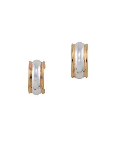 Lauren Ralph Lauren Back to Basics Two-Tone Hoop Clip-On Earrings-SILVER/GOLD-One Size