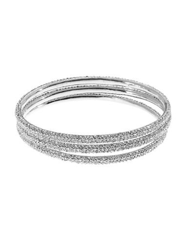 A.B.S. By Allen Schwartz 3 Piece Pave Bangle Set-SILVER-One Size