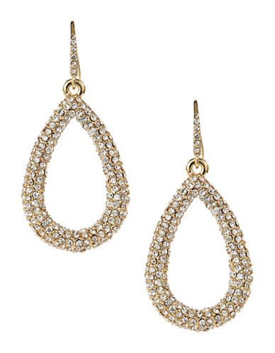 A.B.S. By Allen Schwartz Pave Tear Drop Earrings-GOLD-One Size