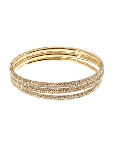 Image of A.B.S. By Allen Schwartz 3 Piece Pave Bangle Set-GOLD-One Size