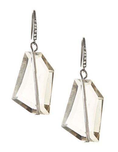 A.B.S. By Allen Schwartz Faceted Stone Drop Earrings-SILVER-One Size
