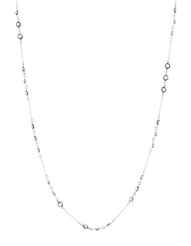 A.B.S. By Allen Schwartz Long Framed Stone Necklace-SILVER-One Size
