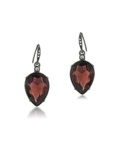 Image of A.B.S. By Allen Schwartz Black Magic Crystal Drop Pierced Earrings-RED-One Size