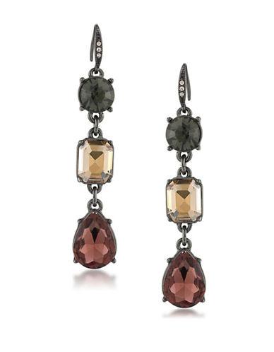 Image of A.B.S. By Allen Schwartz Black Magic Crystal Drop Earrings-GREY-One Size