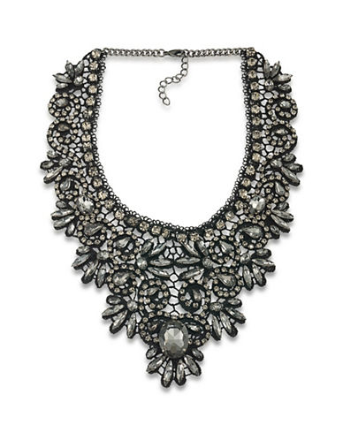 A.B.S. By Allen Schwartz Lace And Stone Bib Necklace-GREY-One Size