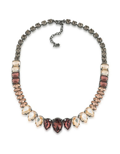 Image of A.B.S. By Allen Schwartz Black Magic Crystal Collar Necklace-GREY-One Size