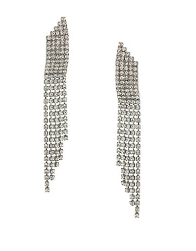 A.B.S. By Allen Schwartz Rhinestone, Crystal Drop Pierced Earrings-LIGHT WHITE-One Size