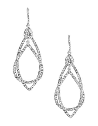 A.B.S. By Allen Schwartz Pave Orbital Drop Earrings-SILVER-One Size