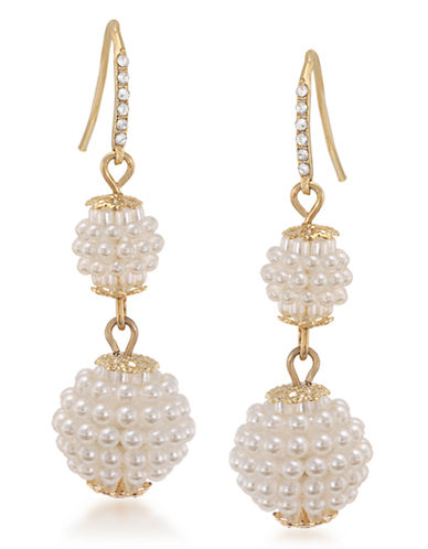 Carolee The Dawn Suede Pearl Double Drop Pierced Earrings Gold Tone Plastic Drop Earring-WHITE-One Size