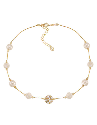 Carolee Glass Stone and Pave Pearl Necklace-WHITE-One Size