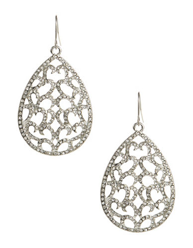 A.B.S. By Allen Schwartz Openwork Pave Tear Drop Earrings-SILVER-One Size