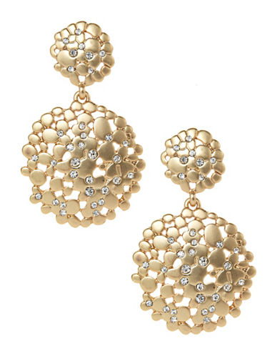 A.B.S. By Allen Schwartz Double Drop Flower Cluster Earrings-GOLD-One Size