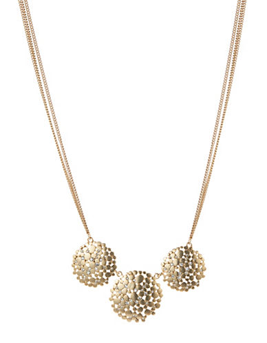 A.B.S. By Allen Schwartz Tri Disc Necklace-GOLD-One Size