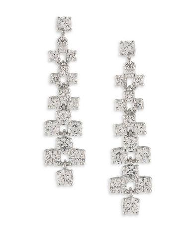 Carolee Silvertone Linear Earrings-WHITE-One Size